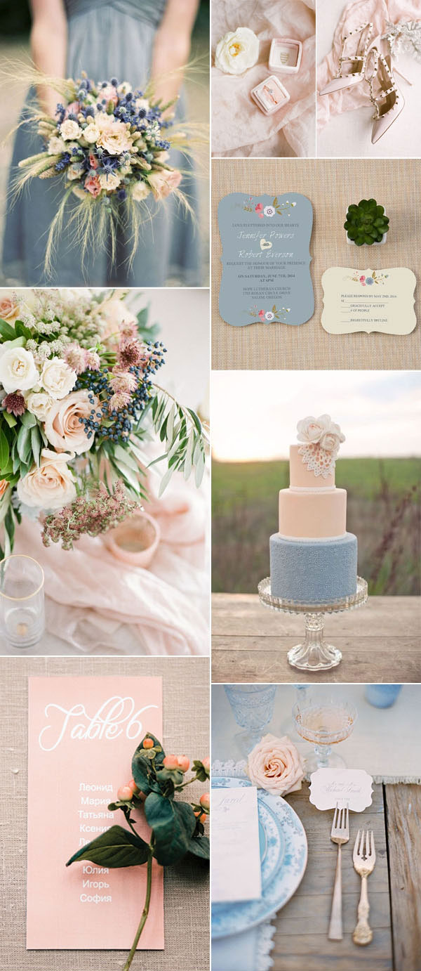 Muted hues neutral palette | Pink Blue Champagne | Erica Irwin Weddings