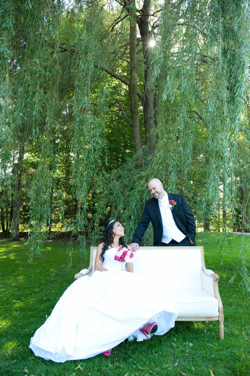 Bride and Groom white divan Governor General's Estate | Mazaj Restaurant | AMBPhoto