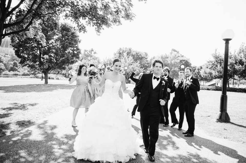Bride and Groom with wedding party | Westin Hotel Ottawa | Julie Hahn Photography