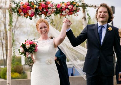 Joyful Bride and Groom after being married | Britannia Yacht Club | Union Eleven Photographers
