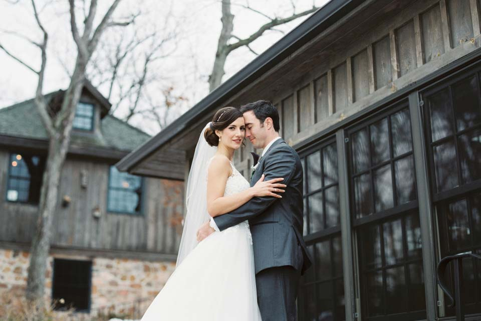 Couple outdoors winter wedding | The Ivy Lea Club Thousand Islands | AMBphoto
