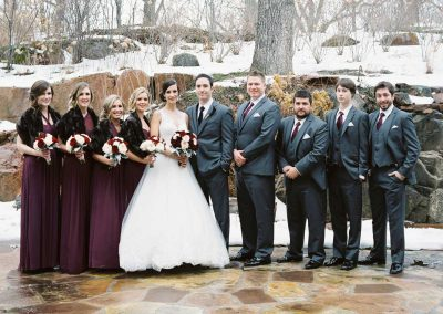 Bridal party in burgundy dresses and charcoal grey suits | The Ivy Lea Club | AMBPhoto