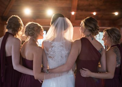 Bride with bridesmaids in burgundy with tattoos | The Ivy Lea Club | AMBPhoto