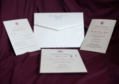 Cream and burgundy with snowflake wedding invitation set | The Ivy Lea Club | AMBPhoto