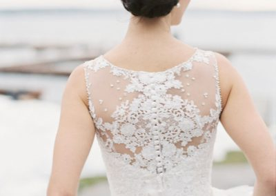 Lace back wedding dress with low bun | The Ivy Lea Club | AMBPhoto