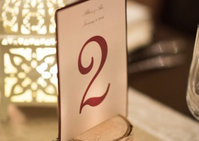 Cream and burgundy table number on birch stump | The Ivy Lea Club | AMBPhoto