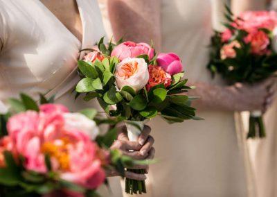 Bridesmaids blush dresses with coral pink blush bouquet | Britannia Yacht Club | Union Eleven Photographers
