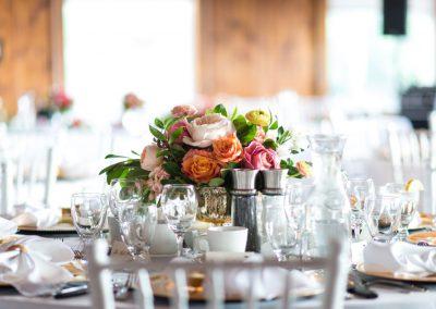 Coral blush pink peony and rose centerpiece white chiavari | Britannia Yacht Club | Union Eleven Photographers