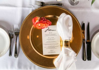 Gold charger white napkin gold napkin ring coral rose with menu | Britannia Yacht Club | Union Eleven Photographers