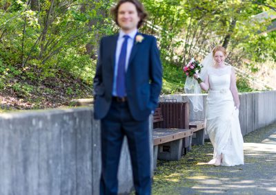 First look photo Groom blue suit | Ottawa Canal | Union Eleven Photographers