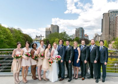 Bridal party Ottawa canal | Ottawa pedestrian bridge | Union Eleven Photographers