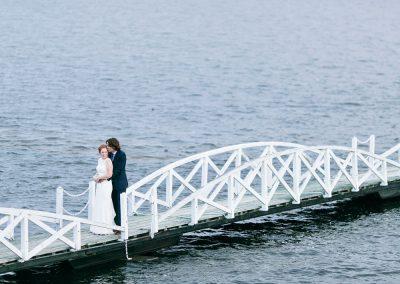 Bride and Groom photo white bridge with sunset | Britannia Yacht Club| Union Eleven Photographers