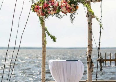 Coral blush pink peony and rose with birch ceremony archway | Britannia Yacht Club | Union Eleven Photographers