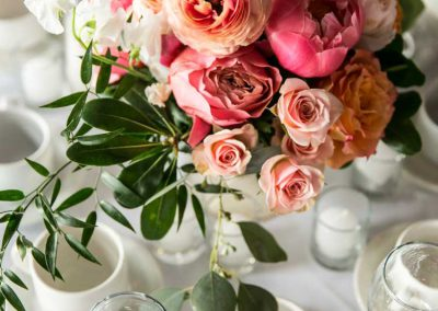 Coral blush pink peony and rose centerpiece with greenery | Britannia Yacht Club | Union Eleven Photographers