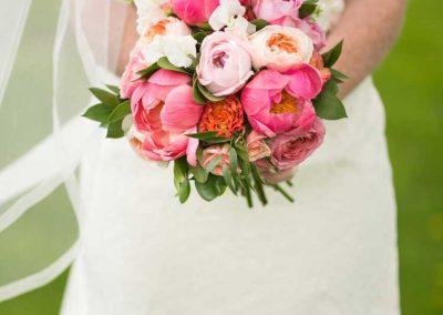 Bride antique lace dress coral pink bouquet | Britannia Yacht Club | Union Eleven Photographers