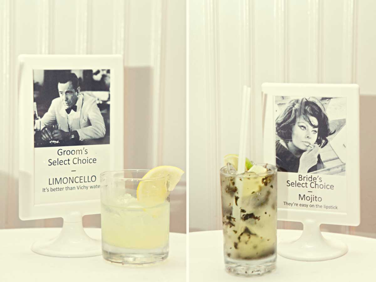 His and her's signature drinks | Wedding Details | Renaissance Studios