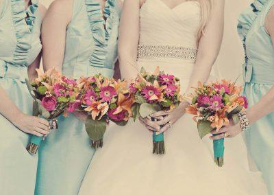 ink and orange bridal bouquets | Sala San Marco | Renaissance Studios
