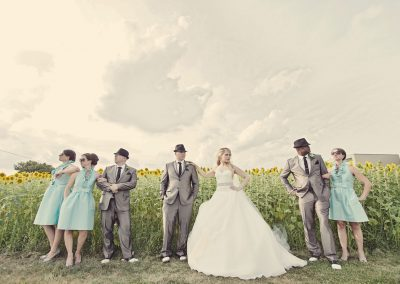 Bridal party with sunglasses in a field | Sala San Marco | Renaissance Studios