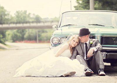 Bride and groom with vintage tiffany blue car | Sala San Marco | Renaissance Studios