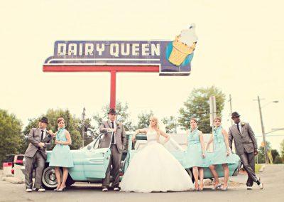 Bridal party at vintage Dairy Queen | Sala San Marco | Renaissance Studios