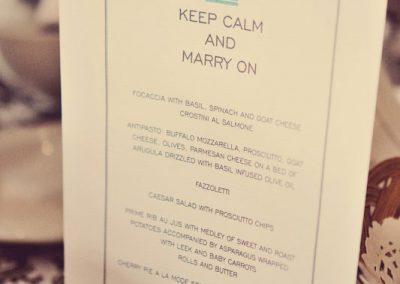 Keep calm and marry on menu | Sala San Marco | Renaissance Studios