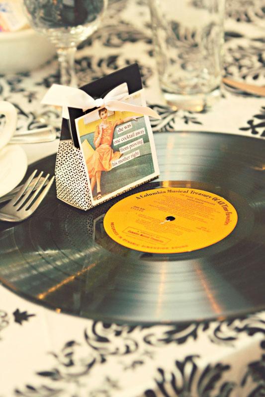 Anne Taintor favor vinyl record charger | Wedding Details | Renaissance Studios
