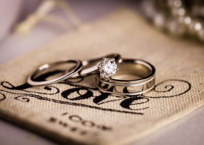 Styled wedding rings burlap bag | Stonefields Heritage Farm | Themotions Photography