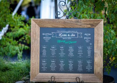 White and green chalkboard seating chart | Stonefields Heritage Farm | Themotions Photography