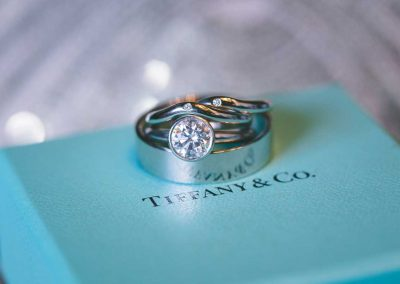 Styled Tiffany wedding bands and engagement ring | Fairmont Chateau Montebello | Urban Bent Studio