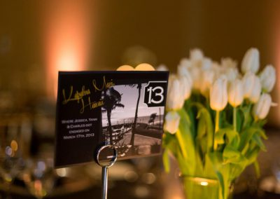 Table number with travel destinations | Fairmont Chateau Montebello | Urban Bent Studio