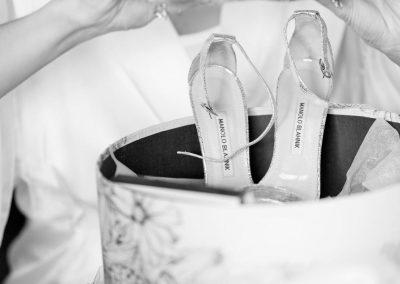 Manolo Blahnik bride shoes | Fairmont Chateau Montebello | Urban Bent Studio