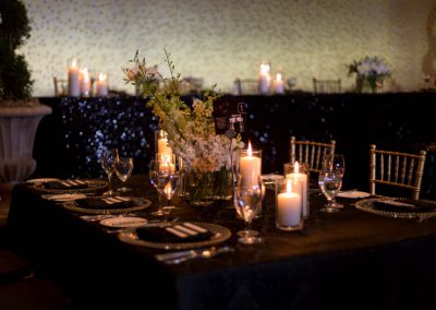 Black white and gold guest and head table | Fairmont Chateau Montebello | Urban Bent Studio