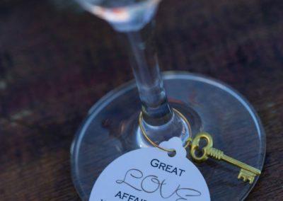 Champagne flute personalized tag with key | Fairmont Chateau Montebello | Urban Bent Studio
