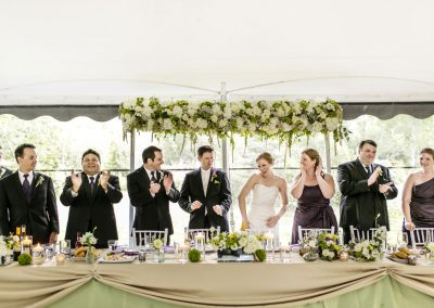 Headtable green with floral arch | Private Residence Wedding | Union Eleven Photographers