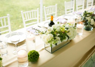 Button mum balls and mirrored box centerpiece | Private Residence Wedding | Union Eleven Photographers