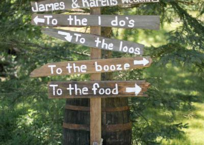 Funny wood directions signs | BPrivate Residence Wedding | Union Eleven Photographers