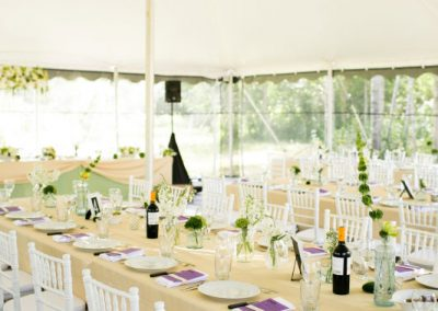 Long tables white chiavari green and white florals | Private Residence Wedding | Union Eleven Photographers