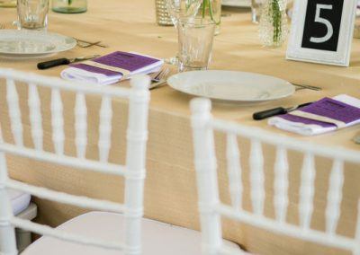 White chiavari wheat linen purple menu | Private Residence Wedding | Union Eleven Photographers