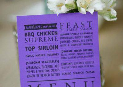 Purple menu various fonts | Private Residence Wedding | Union Eleven Photographers