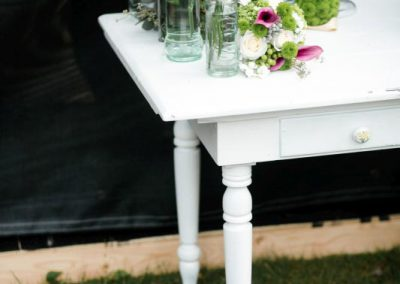Antique white table various glass white and green flowers | Private Residence Wedding | Union Eleven Photographers