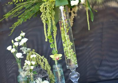 Tall glass arrangements with amaranthus | Private Residence Wedding | Union Eleven Photographers