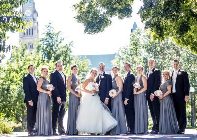 Bridal party in grey and black blush pink and cream florals | Fairmont Chateau Laurier | Union Eleven Photographers