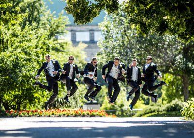Groomsmen black suits jumping | Fairmont Chateau Laurier | Union Eleven Photographers