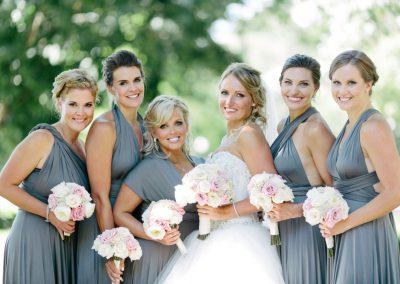 Twobirds bridesmaids dresses grey cream and blush bouquets | Fairmont Chateau Laurier | Union Eleven Photographers