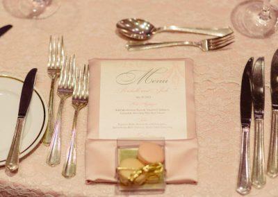 Placesetting blush pink satin napkin menu macaron favour box | Fairmont Chateau Laurier | Union Eleven Photographers