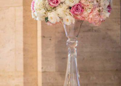 Floral glass pedestal vase blush pink cream roses white hydrangeas | Fairmont Chateau Laurier | Union Eleven Photographers