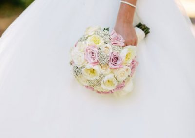 Bride with blush pink white cream roses | Fairmont Chateau Laurier | Union Eleven Photographers