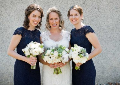 Bride lace dress and Bridesmaids navy lace dresses with Bouquets | Rivermead Ottawa | AMBphoto