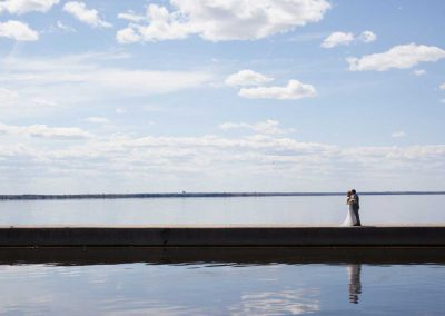 Bride and Groom on Pier with Lake View | Rivermead Ottawa | AMBphoto