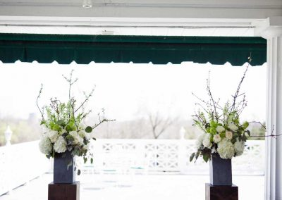 Large florals in slate containers with branches white and greenery | Rivermead Golf Ottawa | AMBphoto